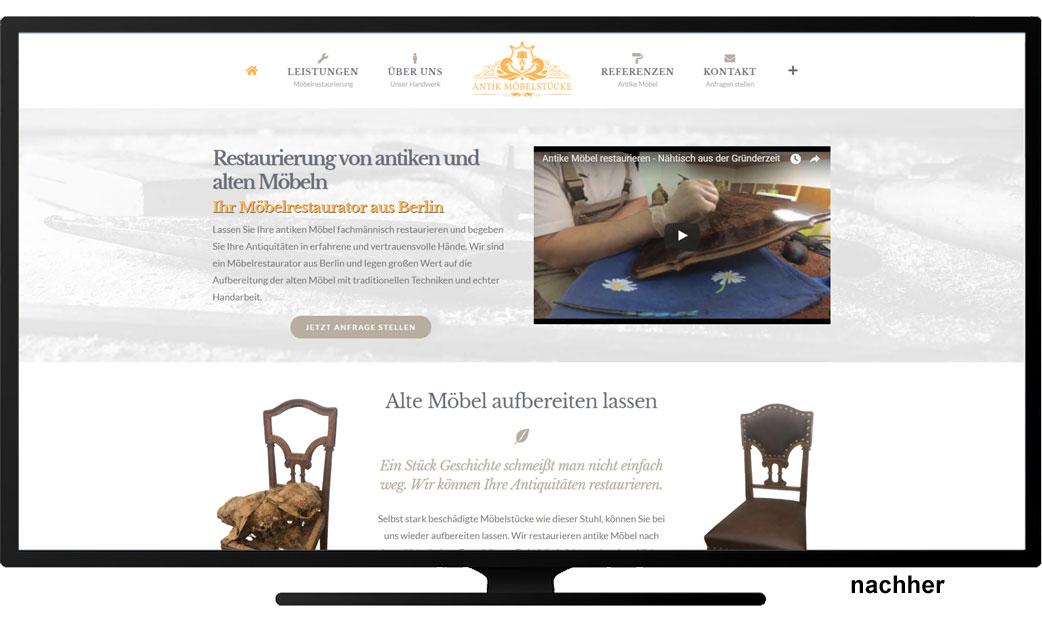 Webseite Antike Möbelstücke nachher