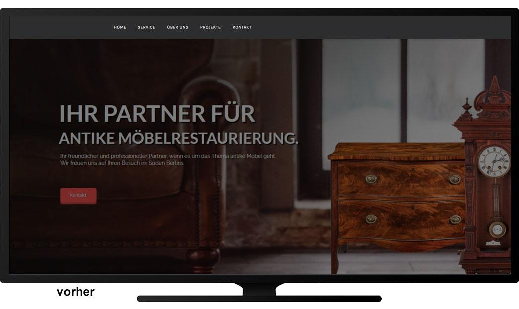 Webseite Antike Möbelstücke vorher