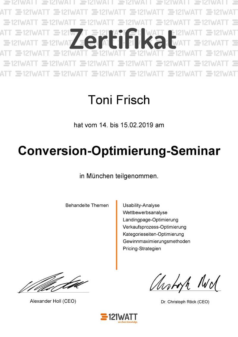 Conversion Optimierung Seminar Zertifikat Toni Frisch