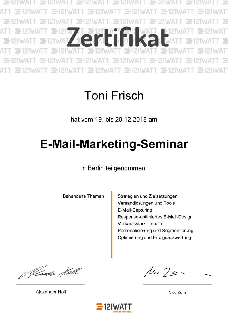 Email Marketing Zertifikat