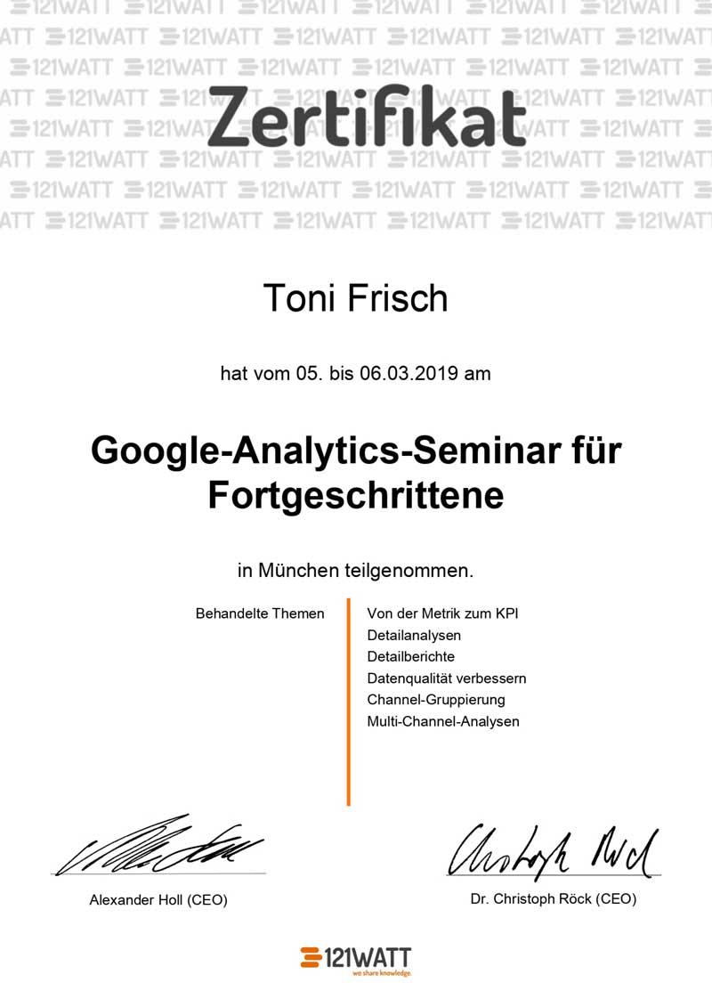 Google Analytics für Fortgeschrittene Zertifikat