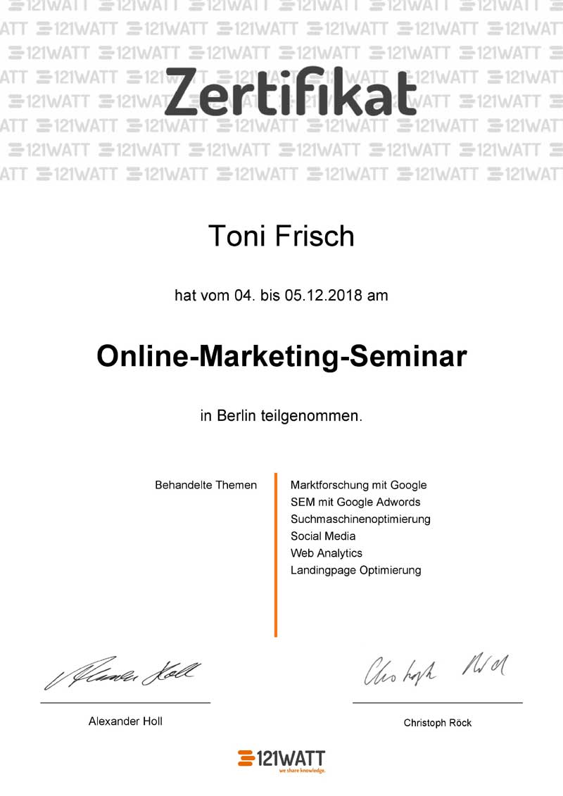 Online Marketing Seminar Zertifikat
