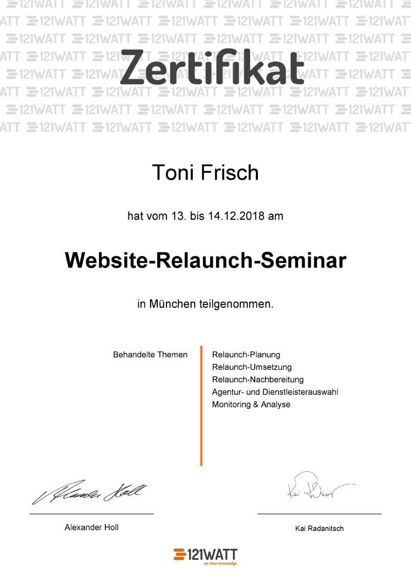 Webseiten Relaunch Zertifikat