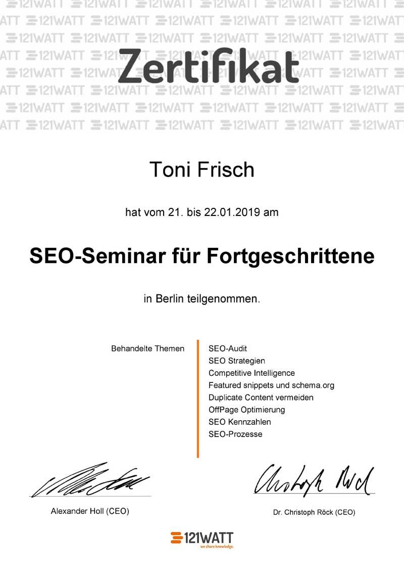Suchmaschinenoptimierung für Fortgeschrittene Zertifikat