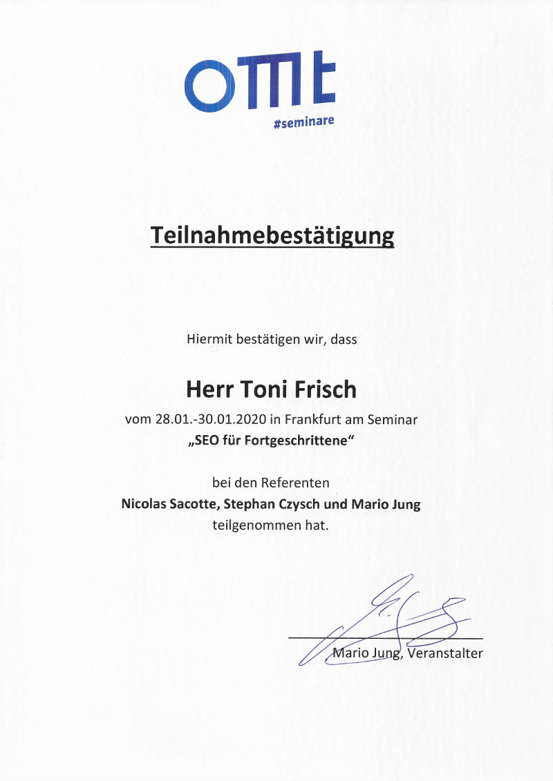 OMT Suchmaschinenoptimierung für Fortgeschrittene Zertifikat